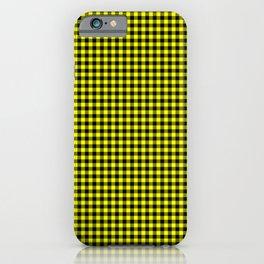 Mini Black and Bright Yellow Cowboy Buffalo Check iPhone Case