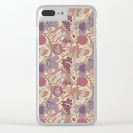Seven Species Botanical Fruit and Grain in Mauve Tones Clear iPhone Case