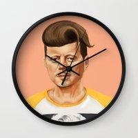 jfk Wall Clocks featuring Hipstory -  John F Kennedyn by Amit Shimoni