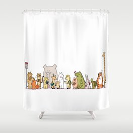 At The Bus Stop Shower Curtain