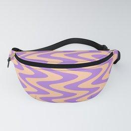 Deep Peach Orange and Lavender Violet Vertical Waves Fanny Pack