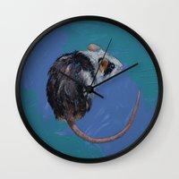 mouse Wall Clocks featuring Mouse by Michael Creese
