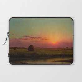Pink Sunset over Scituate, Rhode Island Marches Landscape by Martin Johnson Heade Laptop Sleeve