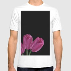 Pink Tulips MEDIUM White Mens Fitted Tee