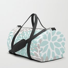 Floral Pattern, Teal, Aqua, Turquoise,Gray Duffle Bag