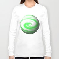 lime green Long Sleeve T-shirts featuring Lime Green & Milky White Sphere by Moonshine Paradise