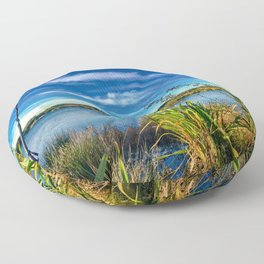 Flaxes and a lake with Ducks. Floor Pillow