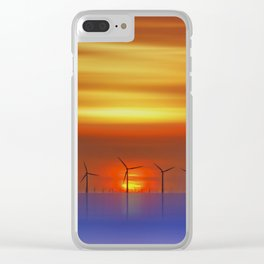 Wind Farms at Sunset (Digital Art) Clear iPhone Case