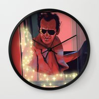 taxi driver Wall Clocks featuring Taxi driver by AnnArk