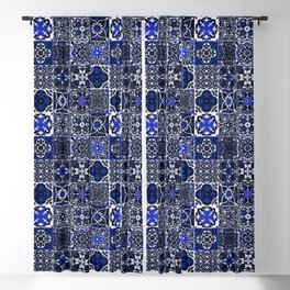 Blue Wonderful Traditional Moroccan Vintage Tiles Artwork (N26). Blackout Curtain