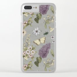 spring flowers with butterfly and beetles I Clear iPhone Case