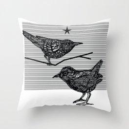 Starlings Under A Black Star Throw Pillow