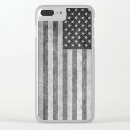 USA flag - Grayscale high quality image Clear iPhone Case