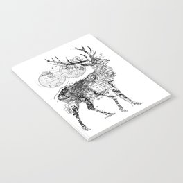 Deer Wanderlust Black and White Notebook