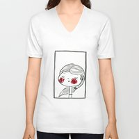 blush V-neck T-shirts featuring portrait (blush) by woollover