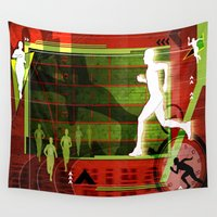 running Wall Tapestries featuring Running by Tami Cudahy