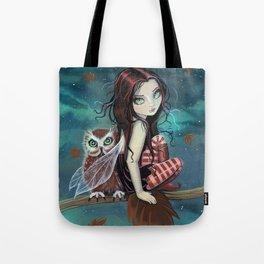 Autumn Owl Fairy Fantasy Art by Molly Harrison Tote Bag