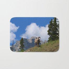 Ram Against Mountain Backdrop Bath Mat
