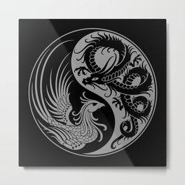 Gray and Black Dragon Phoenix Yin Yang Metal Print