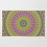 mandala Area & Throw Rugs featuring Floral ornament mandala  by David Zydd