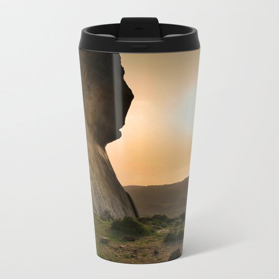 ISLAND STORIES XVIII Mountain Sunset view Metal Travel Mug
