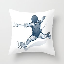 Fencer. Print for t-shirt. Vector engraving illustration. Throw Pillow
