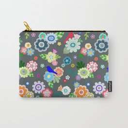 Whimsical Spring Flowers in Dark Grey Carry-All Pouch