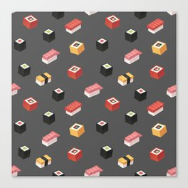 Isometric Sushi Pattern Canvas Print