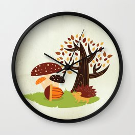 Hedgehog , forest mushrooms, autumn Wall Clock