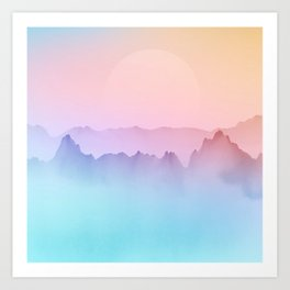 Japanese Ombre Mountain Painting Art Print