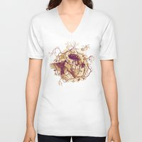 birds V-neck T-shirts featuring Honey & Sorrow (grey) by Teagan White