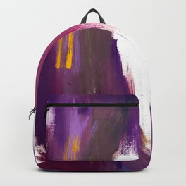 Royalty: a bold, colorful abstract piece in vibrant purples and yellow Backpack