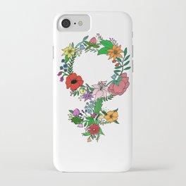 Feminist flower in color iPhone Case