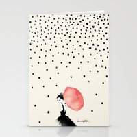 rain Stationery Cards featuring Polka Rain by Karen Hofstetter