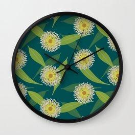 Australian Flora on Teal Wall Clock