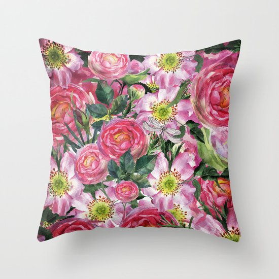 Vintage & Shabby-chic - floral dog roses flowers rose flower Throw Pillow by Vintage & Love ...