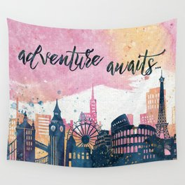 Adventure Awaits Watercolor Wall Tapestry