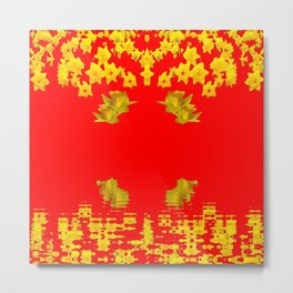 DECORATIVE RED YELLOW DAFFODILS ART Metal Print