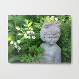 Little Girl in the Garden Metal Print