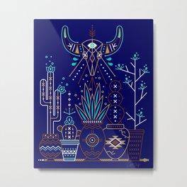 Santa Fe Garden – Navy Metal Print