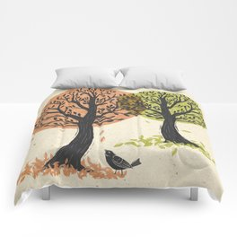 Autumn Is For The Birds Stamped Linocut Comforters