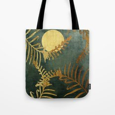 Golden Cycas leaves on dark green canvas Tote Bag
