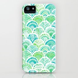 LIME MERMAID DAYDREAM Watercolor Scales iPhone Case