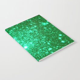 Emerald Green Glitter Stars Notebook