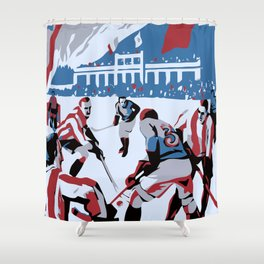 Retro Ice Hockey Shower Curtain