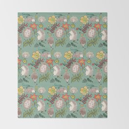 Hedgehogs Field in Green Throw Blanket