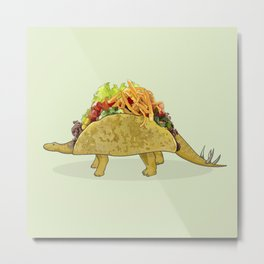 Tacosaurus - Taco Stegosaurus Dinosaur Metal Print
