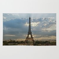 bonjour Area & Throw Rugs featuring bonjour paris by lucyliu