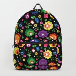 Folk - garden on black background Backpack