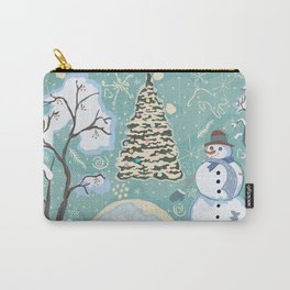 Friendly Snowman In Woods Carry-All Pouch